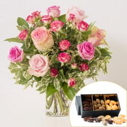Blumenstrauß der Liebe und Schokolade Mandeln