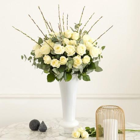 weiße rosen strauß